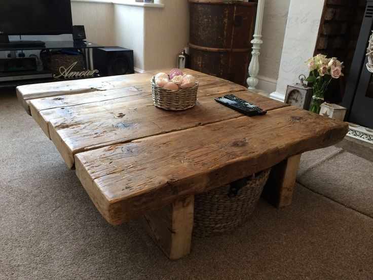 Reclaimed Pine Coffee Table - Rustic Furniture,railway sleeper,oak,shabby chic in Home, Furniture & DIY, Furniture, Tables | eBay!