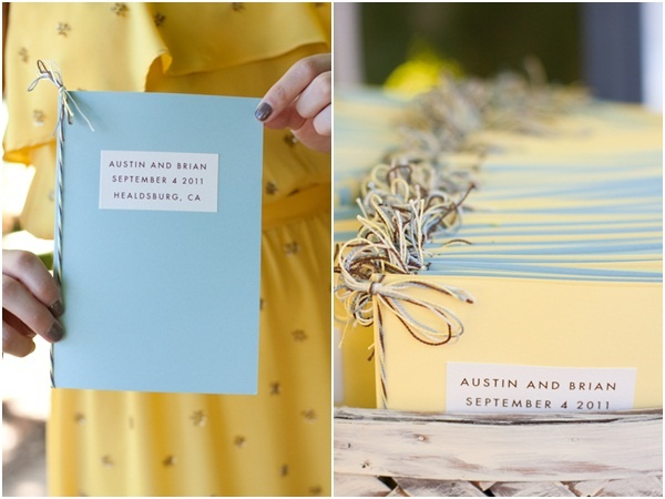Blue and yellow wedding programs