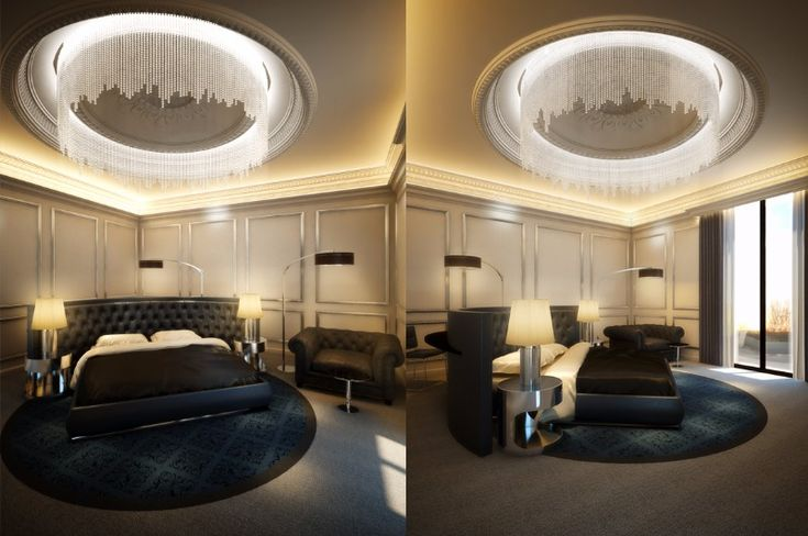 A sumptuous bedroom pair with a bed placed right at the center of the room and a gorgeous curvy headboard that accents the round rug.