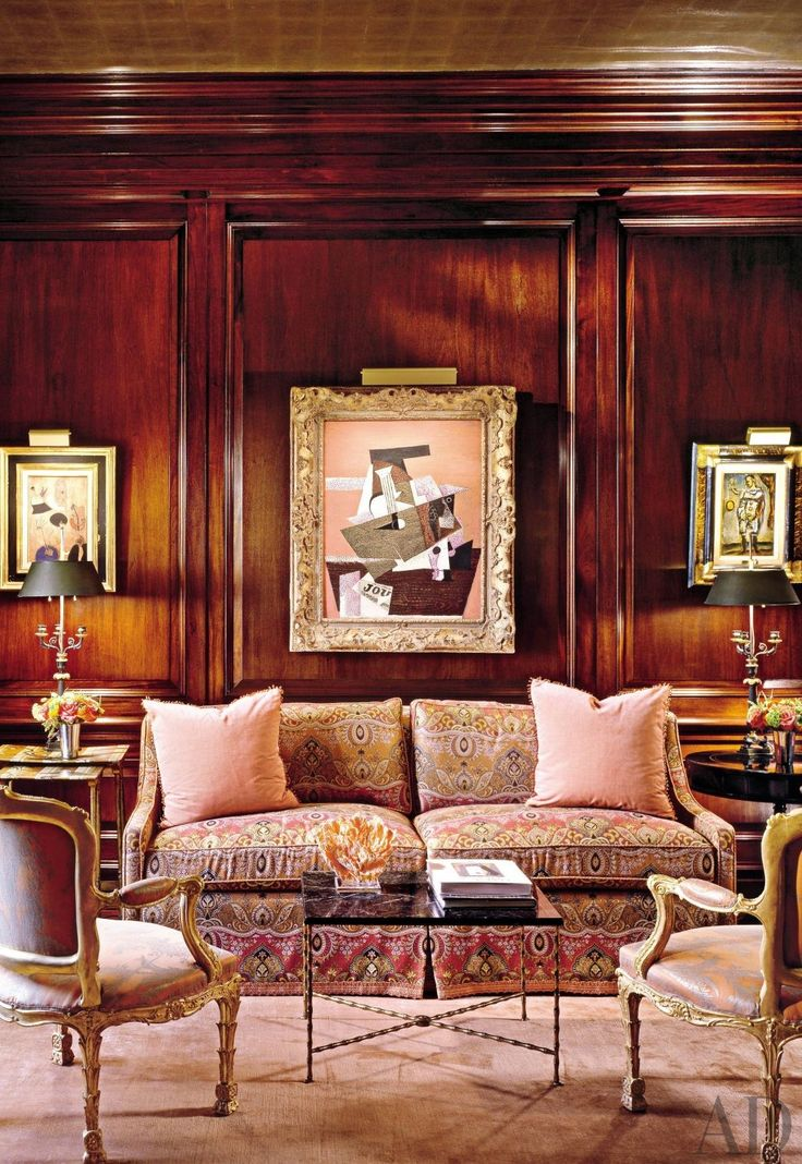Traditional Office/Library by Hein + Cozzi in New York, New York The ceiling, woodwork, custom carpets and art !