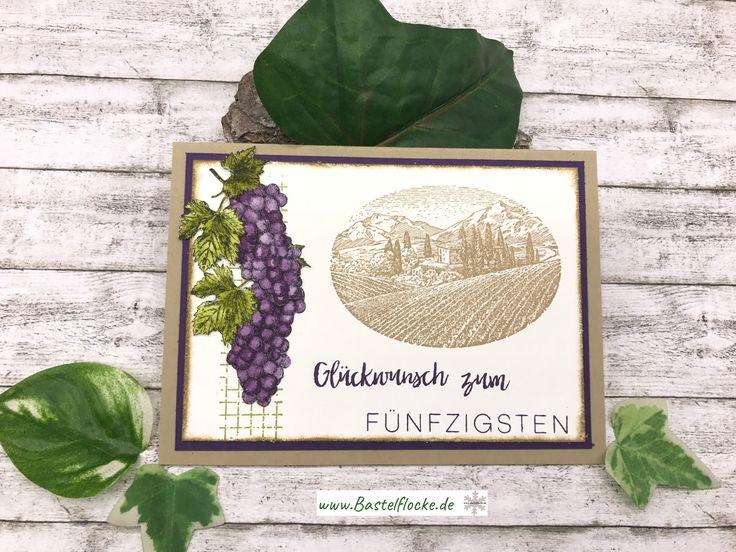 www.bastelflocke.de - Tuscan Vineyard - nochmal eine Geburtstagskarte zum 50sten #stampinup #kumhausen #landshut #demo #stampinupdemonstrator #bastelflocke #pinterest #instagram #tuscan #vineyard #toskana #wein #geburtstag #birthday #karte #card #50 #männerkarte #stempel #landschaft #glückwunsch #meilensteine #savanne #aubergine #weintrauben #acquarell #olivgrün #farngrün #netz #traube #timelesstextures #flüsterweiß