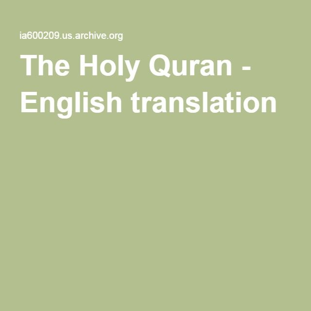 The holy quran english translation free download