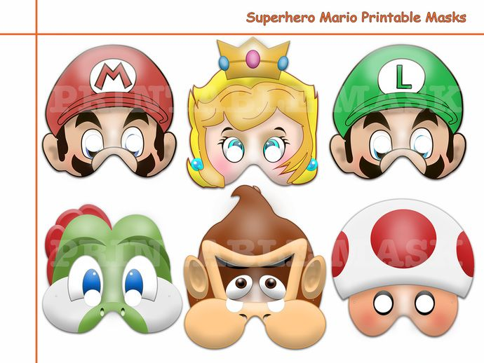Unique Hero Mario Printable Masks,costume,birthday,photo props,kids mask,party favors,games,super mario bros,Princess Peach,Donkey kong by HolidayPartyStar, $6.75 USD