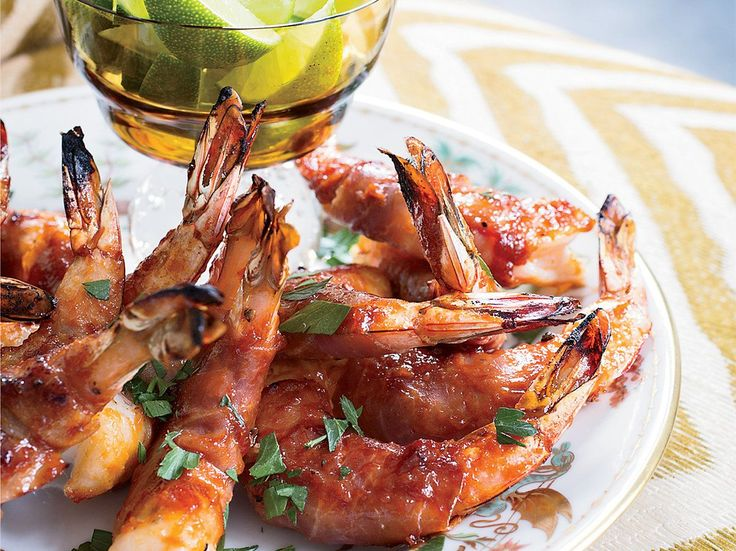 Prosciutto-Wrapped Shrimp with Bourbon Barbecue Sauce   For this twist on bacon-wrapped shrimp, Lauren Kiino uses prosciutto because it's more delicate than bacon and it gets a nice crispness from grilling.