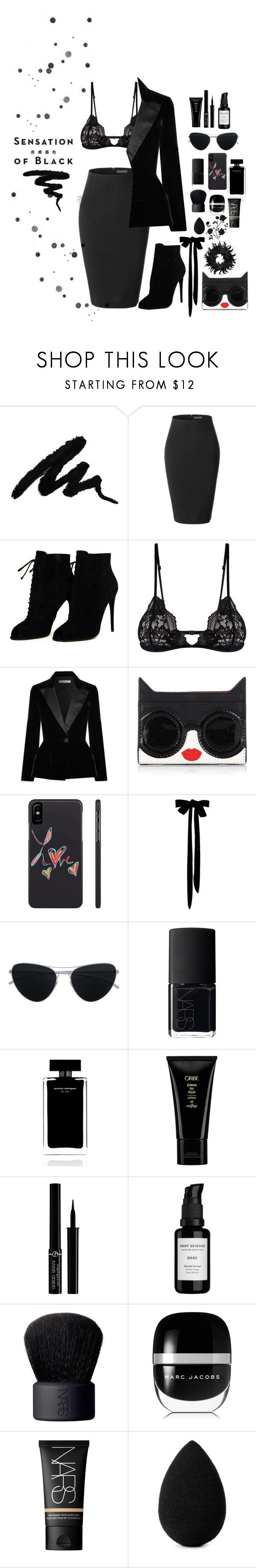 """""""Mission Monochrome: All-Black Outfit"""" by shop77spark ❤ liked on Polyvore featuring LE3NO, Vision, Tom Ford, Mosmann, Oscar de la Renta, Alice + Olivia, Mykita, NARS Cosmetics, Narciso Rodriguez and Oribe"""