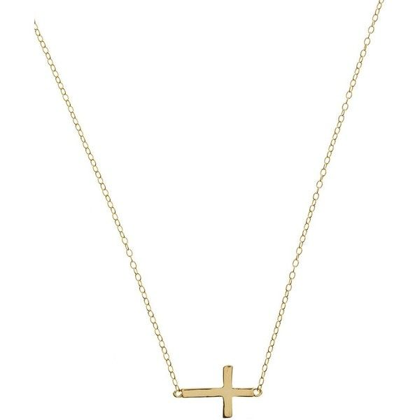 Lord & Taylor 18Kt Gold Over Sterling Silver Sideways Cross Necklace ($30) ❤ liked on Polyvore featuring jewelry, necklaces, gold, gold jewelry, side cross necklace, sideways cross necklace, sterling silver side cross necklace and gold jewellery