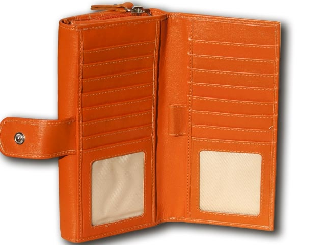 Dimensions: Closed - 19 cms X 9.5 cms    Double sided leather wallet for 22 plastic cards