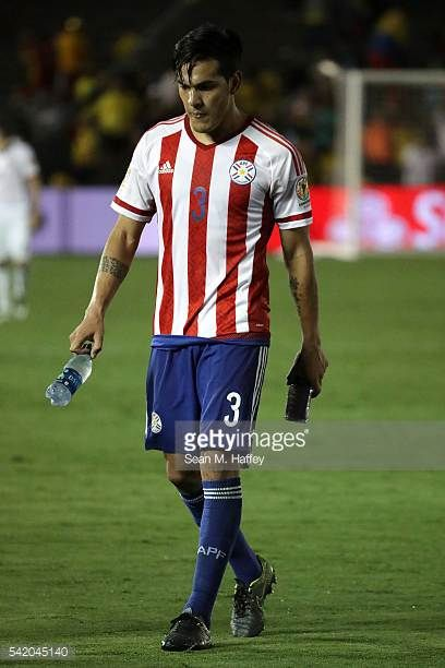 Gustavo Gomez of Paraguay walks off the field after a 2016 Copa America Centenario Group A match between Colombia and Paraguay at Rose Bowl on June 7...