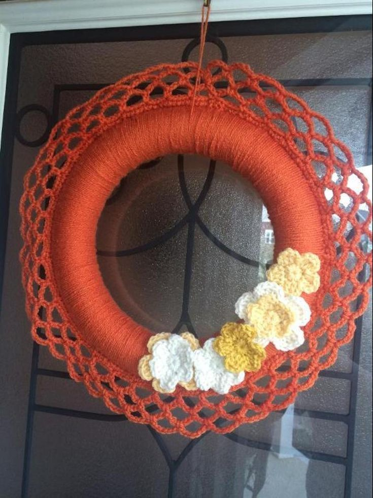 Crocheted Fall Wreath | Craftsy  This wreath is perfect to add to your Fall decor!