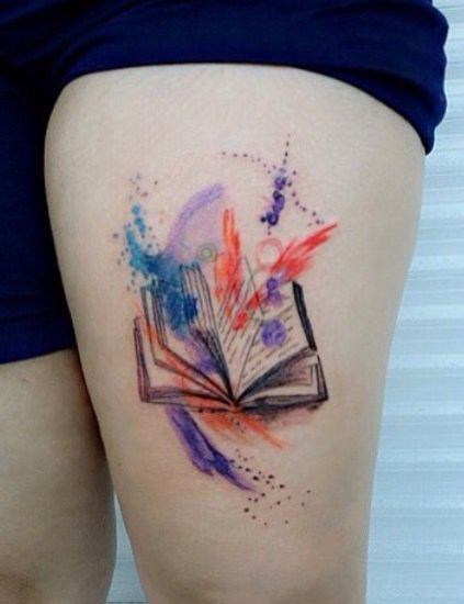 Book Cover Watercolor Tattoos ~ Best open book tattoo ideas on pinterest