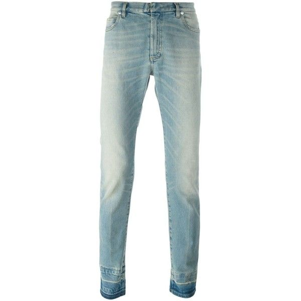 Maison Margiela contrast cuff jeans (661 CAD) ❤ liked on Polyvore featuring men's fashion, men's clothing, men's jeans, mens zipper jeans, maison margiela mens jeans, mens straight leg jeans and mens cuffed jeans