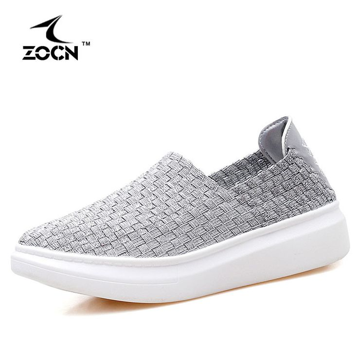 ZOCN Women Metal Color Elastic Band Weave Shoes Stretch Fabric Casual Shoes Woman Flats Breathable Casual Footwear Zapatos Mujer
