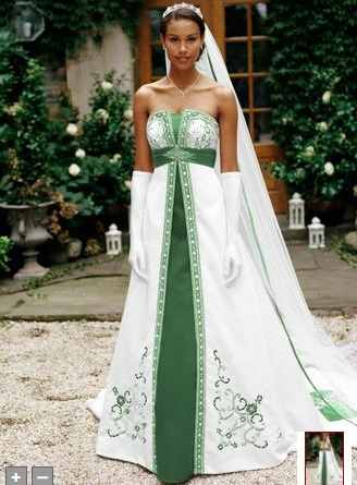 Green Wedding Dress. I know that I am never going to have another wedding but I so love colored wedding gowns.
