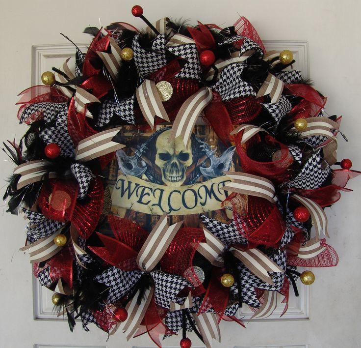 Deluxe Pirate Skeleton Skull Crossbones Pirates Only Deco Mesh Wreath, Halloween