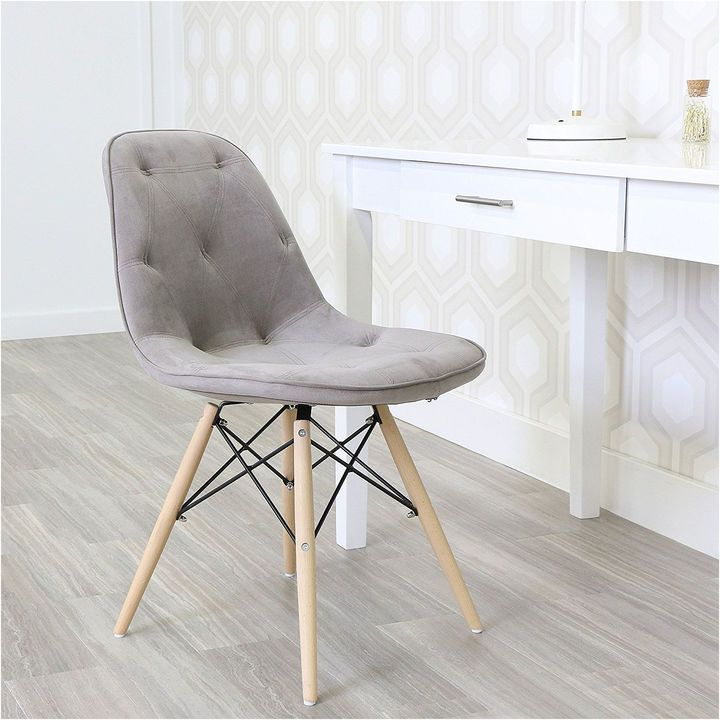 Asstd National Brand Grey Upholstered Eames Dining Kitchen Chairs - Set of 2