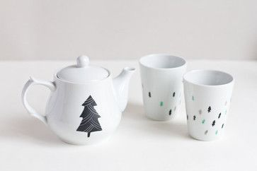 Christmas Trees Teapot and Cups by Asleep From Day - contemporary - serveware - Etsy