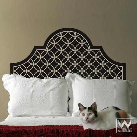 Geometric Trellis Pattern Headboard Removable Wall Decals for Bedroom Decorating - Wallternatives