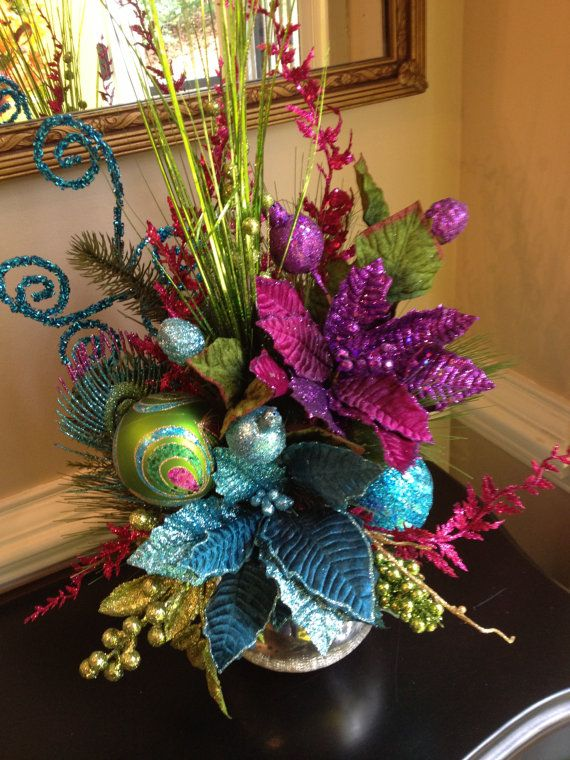 PEACOCK COLORS CHRISTMAS Table Arrangement by CustomFloralDesigns