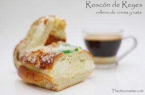 Roscón de Reyes relleno de crema y nata