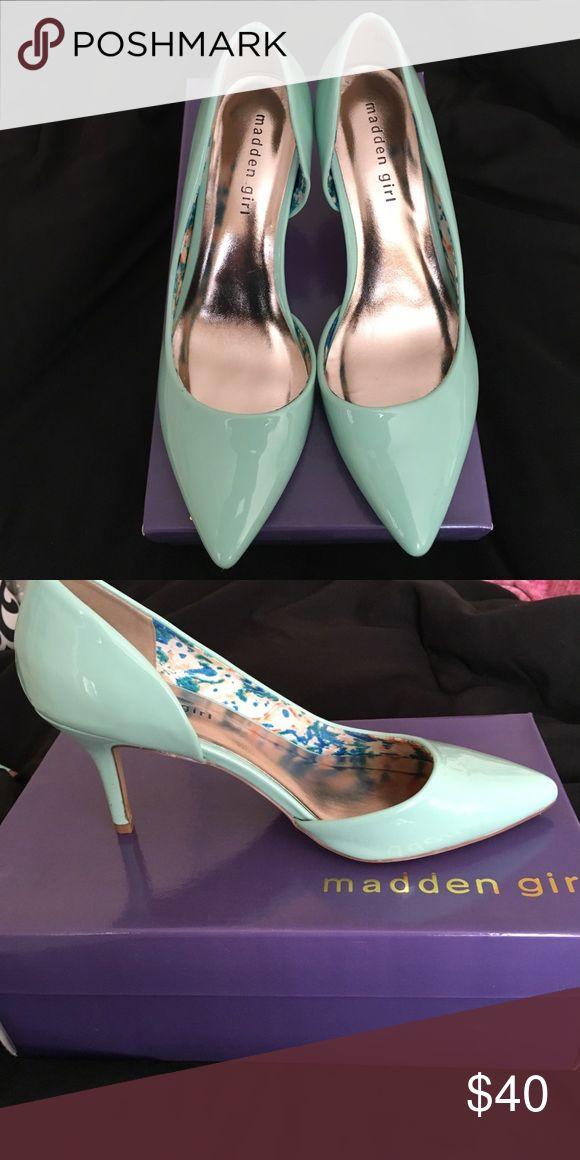 Madden Girl Pumps Mint green Madden Girl Pumps worn once.  Very comfortable. Madden Girl Shoes Heels