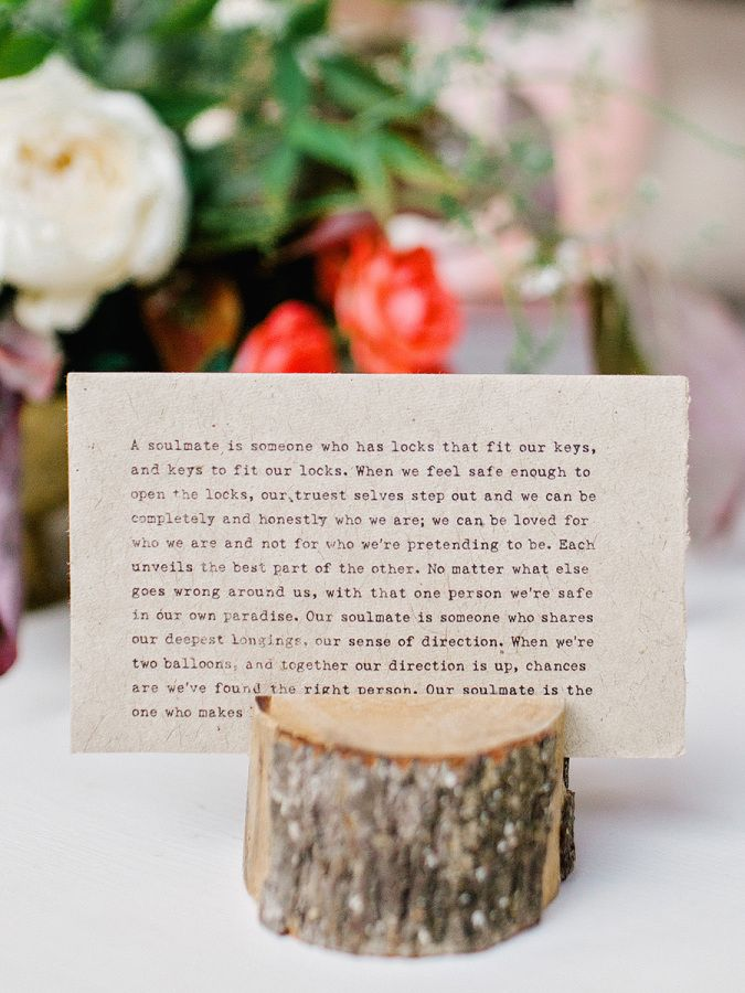 Sweet soulmate quote: http://www.stylemepretty.com/2016/07/19/this-southern-wedding-is-a-foodie-lovers-dream/ | Photography: Amy Arrington - http://amyarrington.com/
