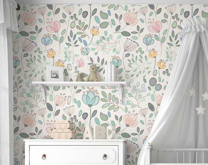 amara floral wallpaper mural watercolor floral traditional or