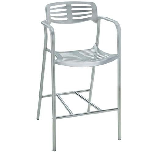 premier hospitality aero cast aluminum bar stool with arms matte finish