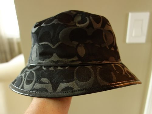 Coach Rain Bucket Hat Womens Black New