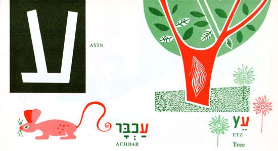 Hebrew alphabet, vintage illustration for children