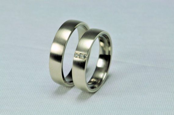 SIGNE  Pair of white gold  titanium wedding ring with by Fordos