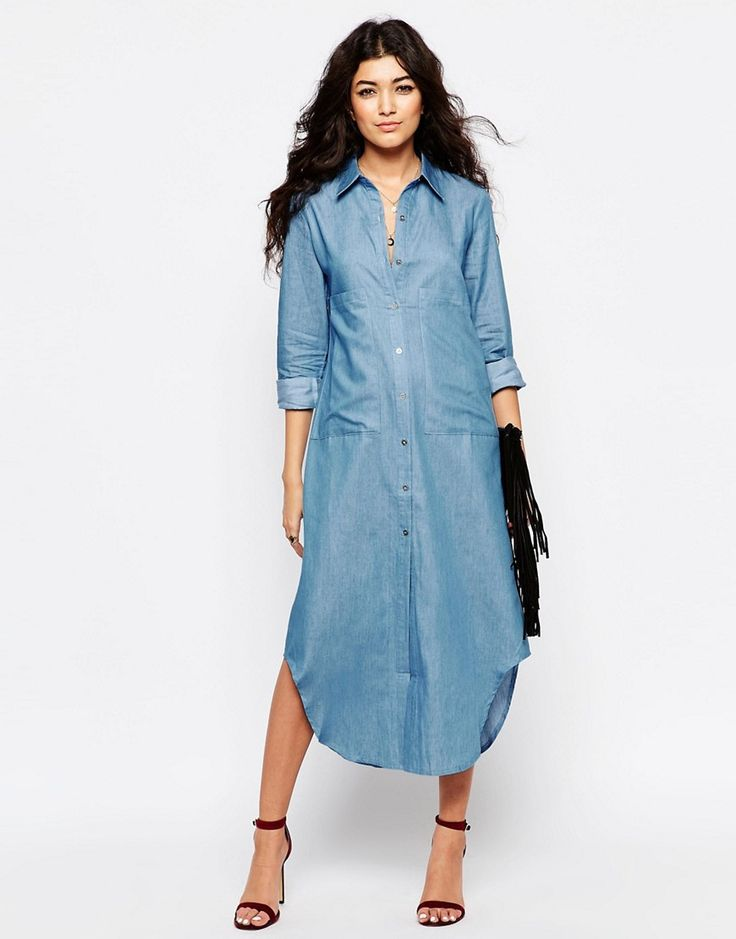 2291 Изображение 4 из Oversize платье-рубашка из шамбре Never Fully Dressed