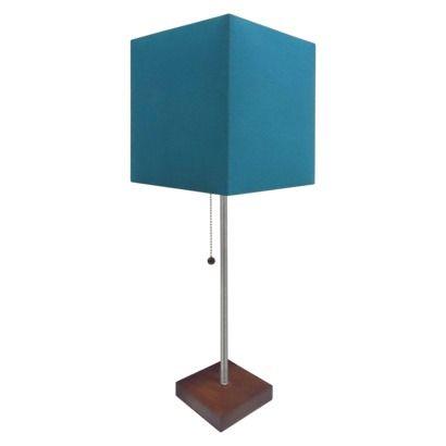 "Threshold™ Table Lamp with Blue Box Shade  Maximum Light Bulb Wattage: 100 Watt Incandescent, 23 Watt CFL  Not Included: Light Bulb  Lamp Dimensions: 14.0 "" H x 6.0 "" W x 6.0 "" D  Shade Top Dimensions: 11.0 "" H x 7.75 "" W  Shade Bottom Dimensions: Width: 7.75 "" W $25 TGT"