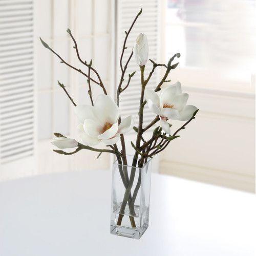 Jane Seymour Botanicals Tulip Magnolia in Square Glass Vase