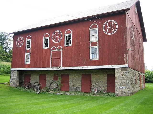 The lower level of the barn at the Troxell-Steckel House in Whitehall Township, Lehigh County, Pennsylvania