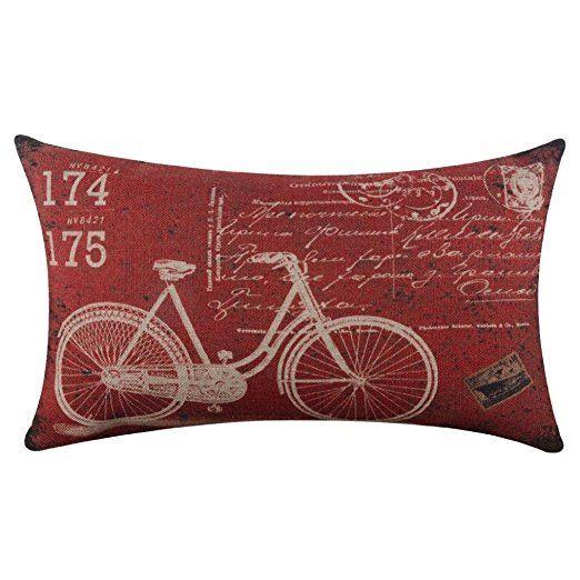 Baonoop Oreiller de bicyclette linge carré jeter lin coussins/couverture de coussin coussin décoratif affaire