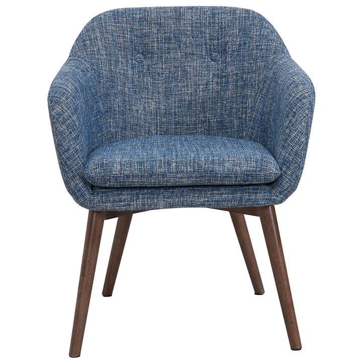 The Minto from WHi features mid-century modern styling, textured multi-toned fabric, a button-tufted back and, (best of all), a removable cushion for easy clean up ;)  http://worldwidehomefurnishingsinc.com/minto-accent-chair-in-blue-blend.html
