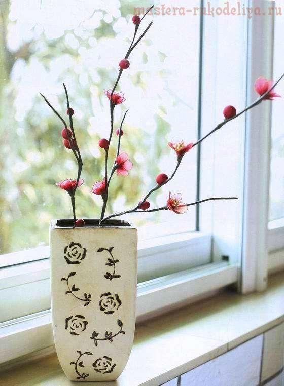 Мастер-класс по созданию цветов из капрона: Веточка сливы с цветами