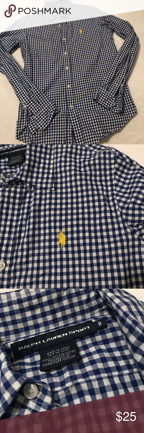 Preppy blue/white Ladies button up Preppy blue/white Ladies button up. Looks great with jeans and boots or denim skirt and sandals. Very classy and timeless piece. Ladies size 8. Excellent condition! Smoke free home Polo by Ralph Lauren Tops Button Down Shirts