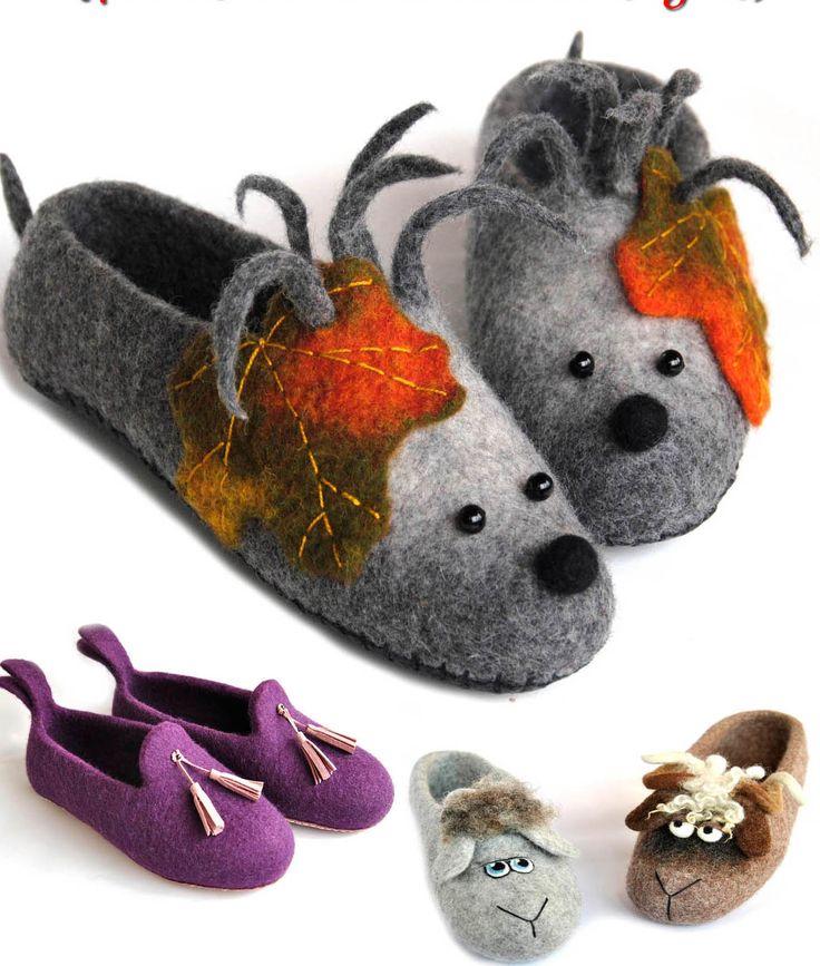 Felted slippers. Focus on animal designs. Videotutorial with Olga Demjanova. English, French, Spanish, German...