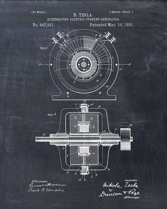 Patent Print Tesla Generator Tesla Wall Art por VisualDesign