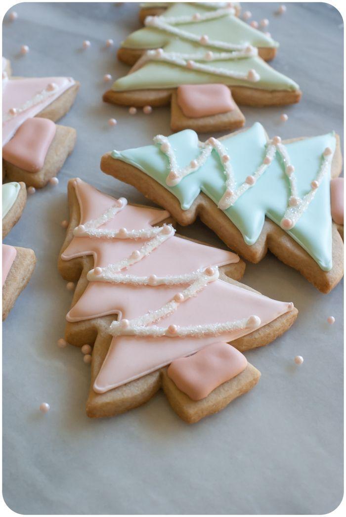 cinnamon-sugar cut-out cookie recipe + pastel christmas tree cookies tutorial