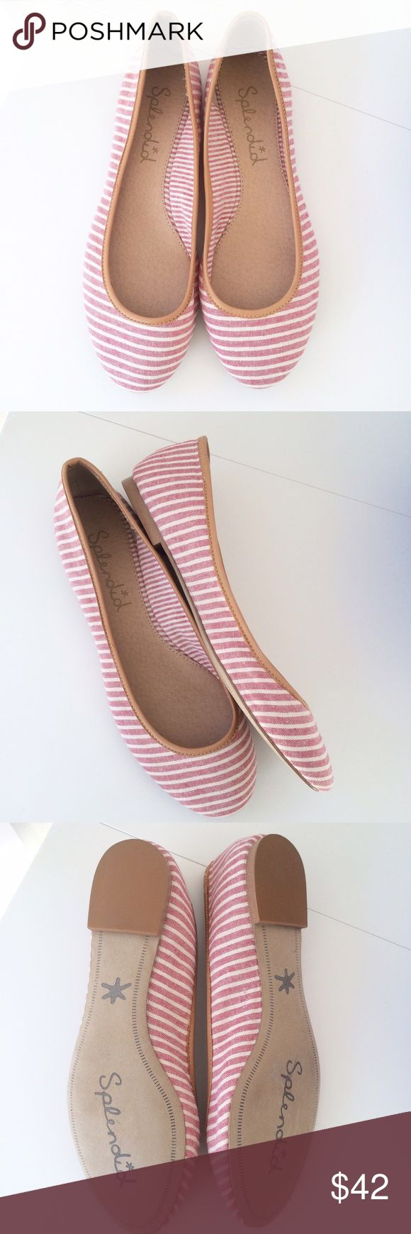 NWOT! Splendid flats Super cute and perfect for summer! NWOT (never worn) Splendid pink/white stripe flats. Size 6 1/2. Fine leather - textile upper. Offers welcome! Splendid Shoes Flats & Loafers