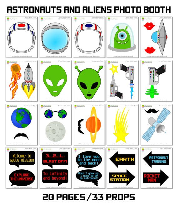 Astronauts & Aliens Photo Booth Props34 by HappyFiestaDesign
