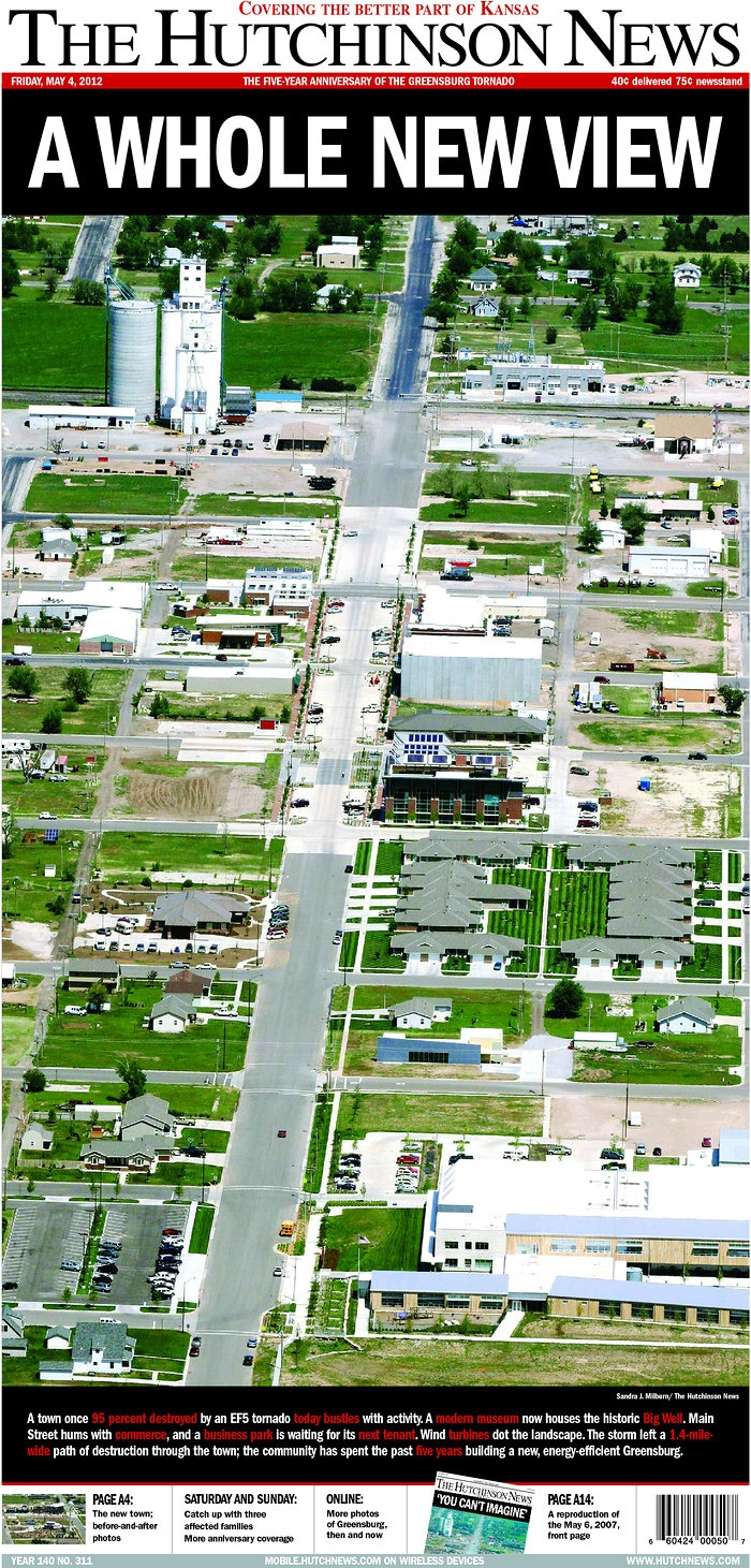 Five year anniversary of the Greensburg tornado commemorated on the front page of The Hutchinson News.
