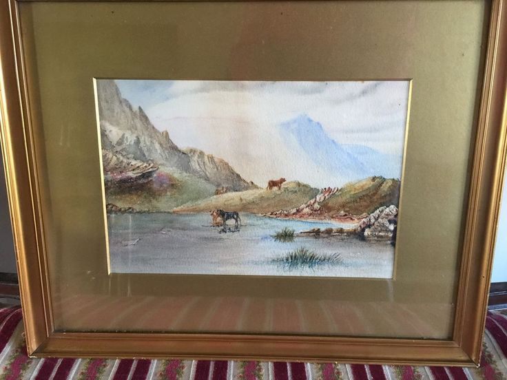 Beautiful Scenic Water Colour Of Highland Cattle In The Scottish Countryside    eBay