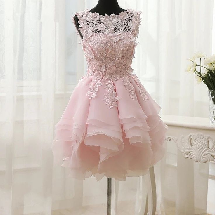 Short bridesmaid dresses,wedding party dress,elegant dress,short prom dress ,ball gowns,floral lace dresses,pink homecoming dresses