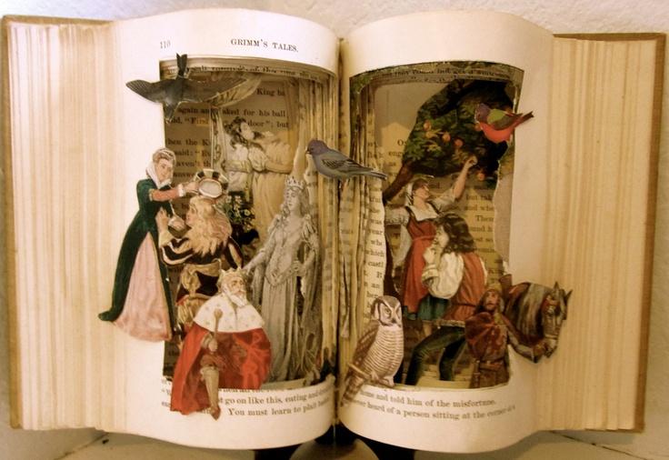 Altered Book  -  Grimm's Fairy Tales. Raidersofthelostart, via Etsy.