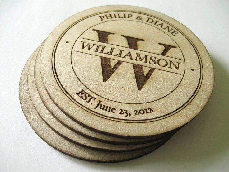 Personalized Coasters Wedding Gift: Balsa Wood Coasters (4) , Personalized Coasters