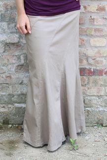 Flowing Grace Long Khaki Skirt | Modest Tan Jean Skirt Sizes 0-12