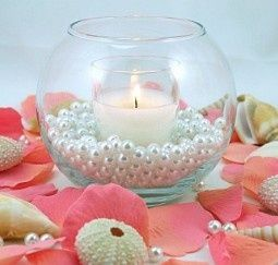 Pearl Centerpieces.-------- but with sand and blue/green spray painted sea shells?